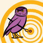 Centrum voor Creatieve Wijsheid logo Uil met penseel en explosief doel